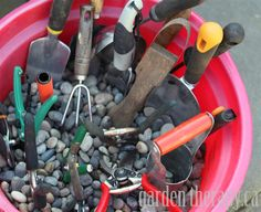 Garden Tool Care and DIY Storage Bin - love how it organizes and so simply!