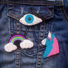 Набор брошей, броши на джинсы, рюкзак, куртку. Глаз, радуга, единорог из бисера.