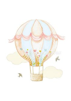 """Nursery print """"HOT AIR BALLOON"""" Fox and bunny nursery art, Fox wall art, Balloon wall art, Hot air balloon wall art, Balloon nursery. Nursery Prints, Nursery Art, Balloon Wall, Balloons, Hot Air Balloon Clipart, Baby Girl Clipart, Bunny Nursery, Flower Backgrounds, Painting For Kids"""