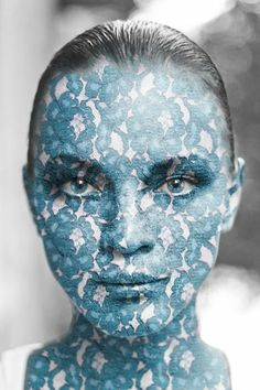 Photo of a woman's face with texture applied in Photoshop using a displacement map
