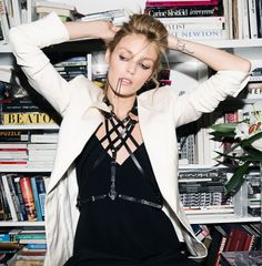 Anja Rubik talks with Into The Gloss wearing her Zana Bayne 'Chevron Harness'