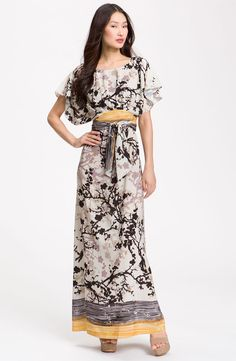 so in love....Suzi Chin for Maggy Boutique Crêpe de Chine Maxi Dress. A tonal graphic print lends striking dimension a flutter-sleeve crêpe de Chine maxi dress, styled with a lushly bloused bodice and wrapped, kimono-style sash around the waist.