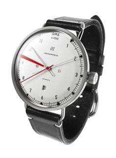 """monoposto automatic.  Monoposto is Italian for """"single-seater,"""" and the watch is accordingly inspired by dashboard gauges from 1950s-era grand prix racing cars. It was common practice for racing mechanics in the 1950s to paint a red line onto the glass of the rev counter so the driver would know when to shift. The Monoposto makes reference to this practice with a distinctive red line applied to the inside of the proprietary 40mm domed crystal."""
