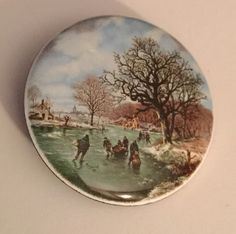People Ice Skating Trees Lake Winter Scene Large Studio Button Signed