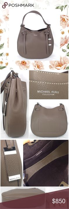 "NWOT Michael Kors COLLECTION Rogers Shoulder Bag Michael Kors French grained calfskin. Contrast topstitching. Flat shoulder strap; hanging logo tag. Belted top with knot detail. Dipped snap top fits securely under arm. Inside: suede lining; one open pocket. 12""H x 13.5""W x 3.5""D. Sold out. No dust bag. New without tags, never used. Trade value $1200 , priced to sell Michael Kors Bags Shoulder Bags"