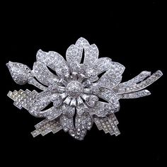 Incredible 1930's Vintage Diamanté Pavé Set Flower Head Brooch from Vintage Jewelry Girl! #vintagebrooch #vintagejewelry #vintagejewellery