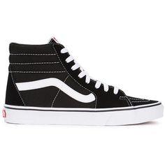 Vans Sk8-Hi Slim Black Suede Hi-top Trainers ($23) ❤ liked on Polyvore featuring shoes, sneakers, vans, trainers, suede high tops, black suede sneakers, vans high tops, black lace up shoes and black hi top sneakers