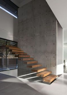 Concrete Stairs, Concrete Wood, Wood Stairs, House Stairs, Clean Concrete, Concrete Houses, Wood Glass, Wood Wood, Glass Stairs Design