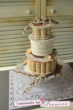 Made a cake of text paper and music paper, ribbon and lace. Homemade by Frences