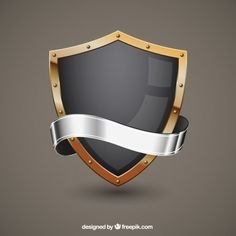 Black shield with a golden frame and a silver ribbon for text. Free art print of Black Shield and Silver Ribbon. Shield Icon, Shield Logo, Cricket Logo, Minions, Shield Vector, Ribbon Logo, Logo Samples, 3d Cnc, Free Art Prints
