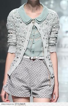 Monochromatic green crochet cardigan, chiffon Peter pan blouse, dress shorts