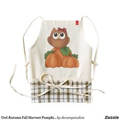 Shop Owl Autumn Fall Harvest Pumpkin Patch Decorative Zazzle HEART Apron created by decampstudios. Personalize it with photos & text or purchase as is! Fall Harvest, Autumn Fall, Plaid Apron, Owl Nursery Decor, Rustic Gifts, Special Needs Kids, Plaid Fabric, Handmade Home Decor, Rustic Style