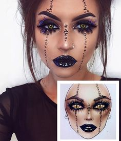 Are you looking for ideas for your Halloween make-up? Check this out for cute Halloween makeup looks. Halloween Makeup Witch, Halloween Makeup Clown, Pretty Halloween, Halloween Eyes, Clown Makeup, Voodoo Makeup, Costume Makeup, Witch Makeup Easy, Halloween Rave