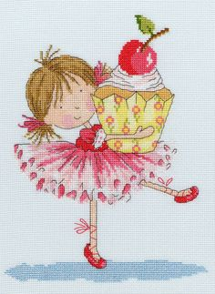 The cute cartoon toddler in her ballet outfit with a giant cupcake.