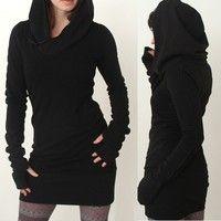 Material: Cotton Blend  Size: S,M,L,XL,XXL XXXL Color: Black Feature: Hoody,Bandage Package Includin