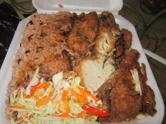 BOX LUNCH!! Fried chicken with rice and peas box lunch from Jamaica