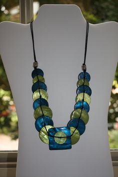Blue and Lime Green freshwater pearl Shell Necklace by anafili, $12.00