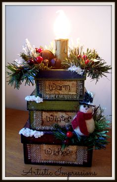 Warm Winter Wishes stacking candle box  $25