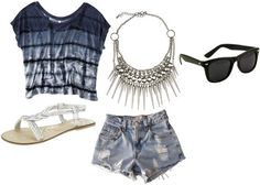 Outfit is very casual for just sitting around the house. Jean shorts with patterned top always look good together!  ~ʝα∂є