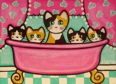 https://flic.kr/p/7TyEBg | 5 Calicos in a Tub | Original Painting www.thats-my-cat.blogspot.com