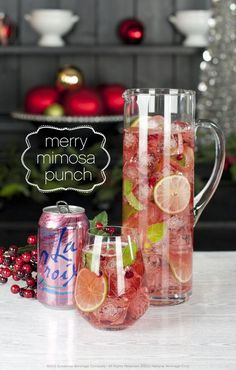 Our favorite holiday punch. Mix one bottle of your favorite prosecco or Champagne with 1 32 oz bottle of Ocean Spray Cranberry-Pomegranate juice and 6 cans of LaCroix Berry Sparkling Water. Top with mint leaves, pomegranate seeds and lemon wheels. #bemerryandlite, #livelacroix, #holidaypunch