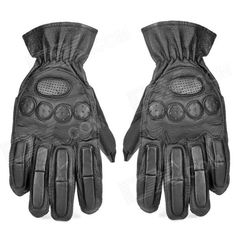 SW3068 Collision Resistant Cow Leather Tactical Sports Full-Finger Gloves - Black (Size L / Pair) Price: $13.30