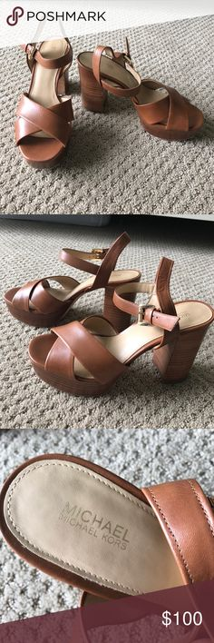 MK SANDALS Michael Kors soft leather brown sandals with a thick heel. AMAZING condition!!! Make an offer!!! Michael Kors Shoes Heels
