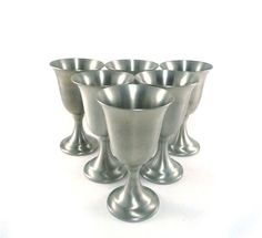 Vintage pewter wine goblets  set of 6 by reconstitutions on Etsy, $56.50