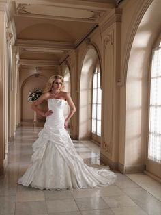 A-Line gown straight Neckline hand-beaded low dipped back strapless taffeta wedding dresses