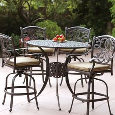 Darlee Santa Monica Cast Aluminum Outdoor Patio Bar Set With Cushions 42 Inch Round