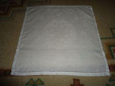 "Vintage Irish Linen Napkins.  Set of 6.  16"" X 16"".  Floral. White. Hemstitched."