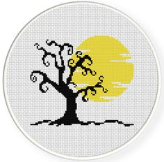 FREE Halloween Tree Cross Stitch Pattern