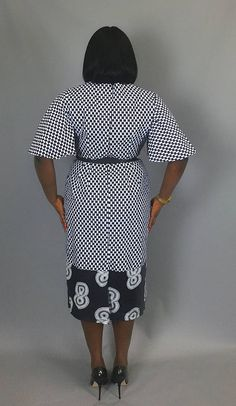 African print flared sleeve fitted dressAfrican