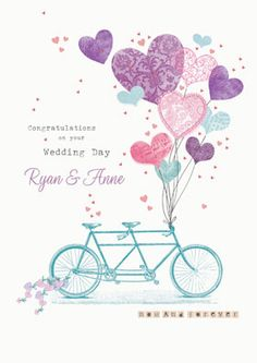 Personalised Wedding Card - Tandem Bike With Balloons