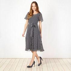 Classics Navy polka dot chiffon dress- at Debenhams.com for mum