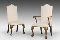 """Set of Eight Walnut and Parcel Gilt Chairs Ca1950 England. 45""""H x 23""""W x 22""""D."""