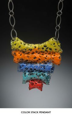 Color Stack Pendant by Liz Schock Design | Enamel and Chain Collection