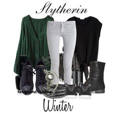 Harry Potter Inspired Looks: Slytherin. I'm a proud Slytherin and I love this outfit Mode Harry Potter, Harry Potter Style, Harry Potter Outfits, Casual Cosplay, Cosplay Outfits, Pretty Outfits, Cool Outfits, Winter Outfits, Slytherin Clothes