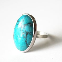 Turquoise Statement Ring  Sterling Silver Turquoise by GetNoticed, $38.00