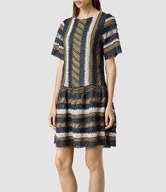 Womens Arwen Dress (INK/BROWN) - product_image_alt_text_2