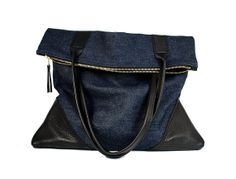 Large leather and denim tote $125