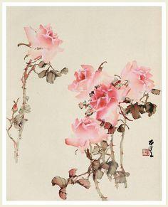 розы японская живопись - Поиск в Google