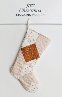 A free quilted Christmas stocking pattern right in time for the holidays! Sew a simple, modern stocking with this step by step tutorial. Diy Quilted Christmas Stocking, Christmas Sewing, Handmade Christmas, Christmas Crafts, Christmas Things, Christmas Time, Kids Christmas Stockings, Christmas Decorations, Christmas Ideas