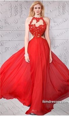 endearing beaded lace applique Cutout open back chiffon dress Red Dresses