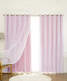 Take a look at this Light Pink Tulle Sheer Lace Blackout Curtain Panel - Set of Two today!