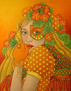 """""""Facade"""" - by Shelly Bedsaul from FOTM Nasturtium art exhibit Orange Is The New, Green And Orange, Orange Color, Color Naranja, Fruit Art, Green Colors, Colored Pencils, Find Art, Giclee Print"""