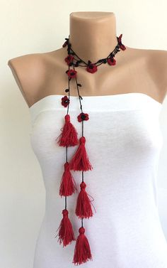 Red Tassel Necklace Boho Wrap Necklace Crochet Necklace Oya Beaded Lariat Gift For Her Jewelry Gift Crochet Jewelry Boho Fringed Wrap boho fashion Fabric Jewelry, Boho Jewelry, Jewelry Gifts, Jewellery Box, Tanishq Jewellery, Jewellery Display, Jewelry Accessories, Boho Necklace, Crochet Necklace