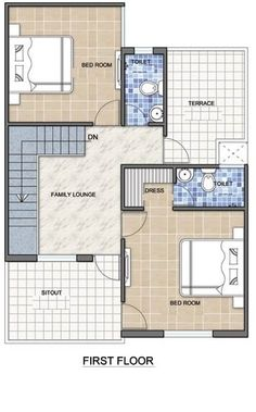 A Duplex house plan is for a single-family home that is built in two floors having one kitchen and dining. The duplex house plan gives a villa look and feel in small area. Model House Plan, Bungalow House Plans, Dream House Plans, Small House Plans, Duplex Floor Plans, Craftsman Floor Plans, House Floor Plans, Duplex House Design, Design Your Dream House