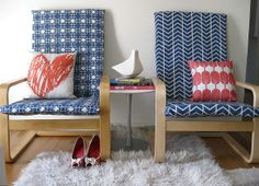 Coordinating (but not matchy) Ikea Poang chairs, slipcovered