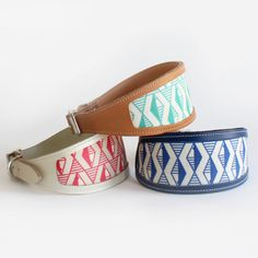 Bright Leather Whippet, Lurcher and Greyhound Collar with Stylish Geometric Design on Etsy, $47.50